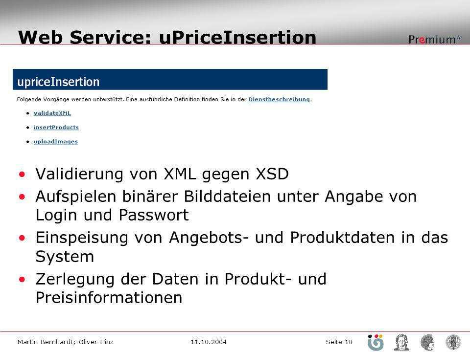 Web Service: uPriceInsertion