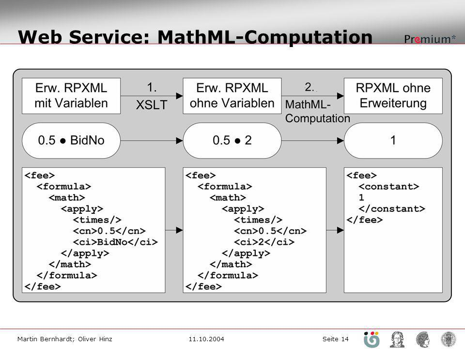 Web Service: MathML-Computation