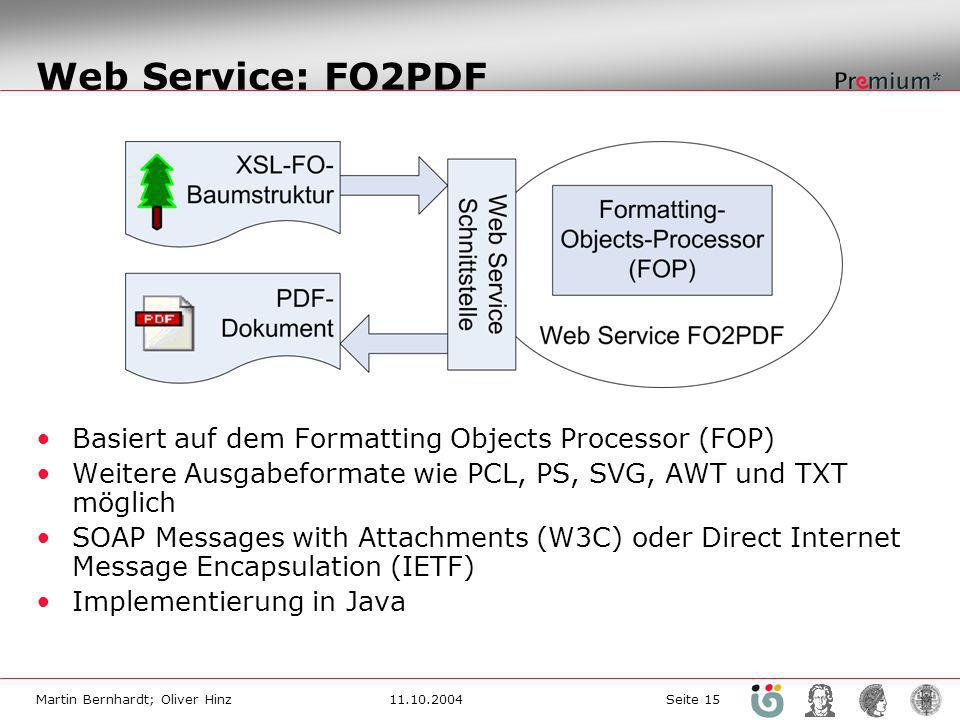 Web Service: FO2PDF Basiert auf dem Formatting Objects Processor (FOP)