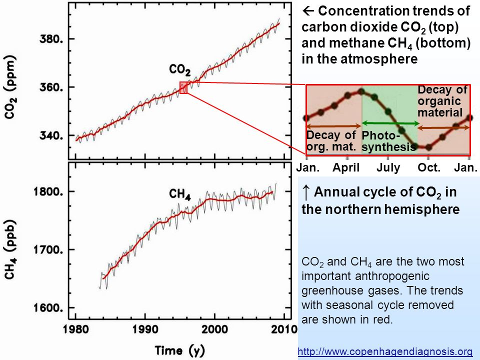 ↑ Annual cycle of CO2 in the northern hemisphere