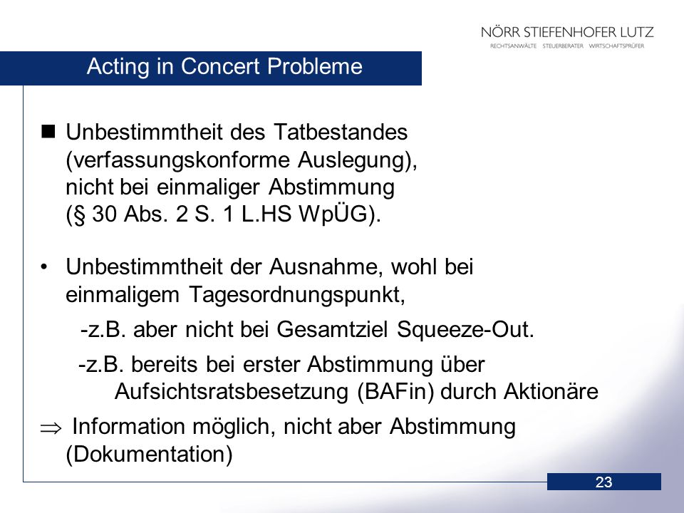 Acting in Concert Probleme