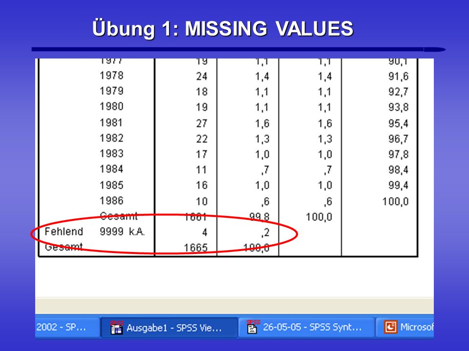 Übung 1: MISSING VALUES 