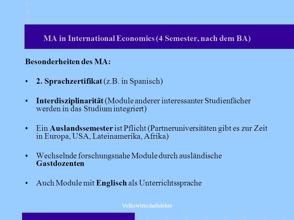 MA in International Economics (4 Semester, nach dem BA)