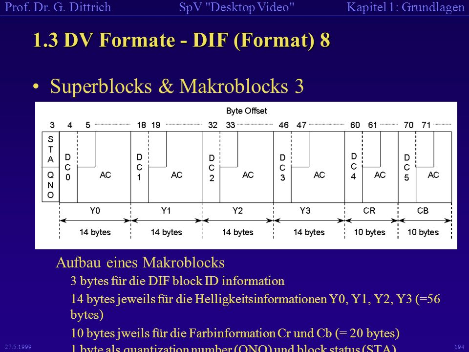 1.3 DV Formate - DIF (Format) 8