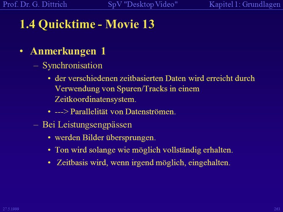 1.4 Quicktime - Movie 13 Anmerkungen 1 Synchronisation