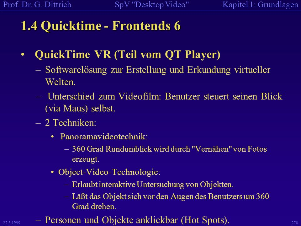 1.4 Quicktime - Frontends 6 QuickTime VR (Teil vom QT Player)
