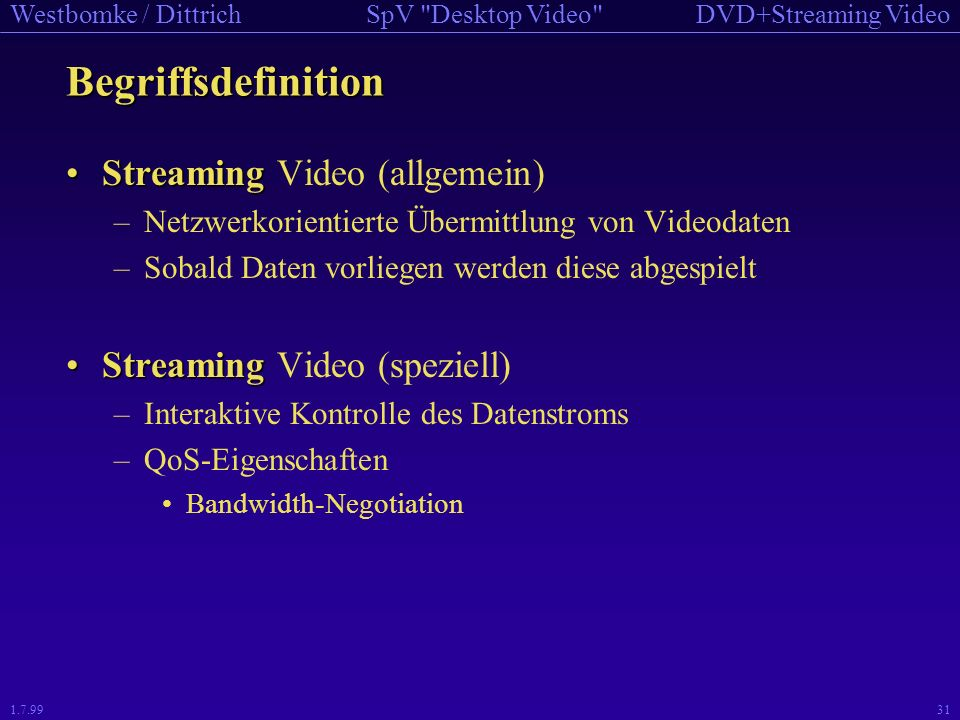 Begriffsdefinition Streaming Video (allgemein)
