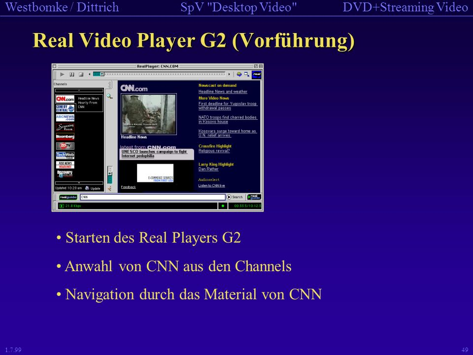 Real Video Player G2 (Vorführung)