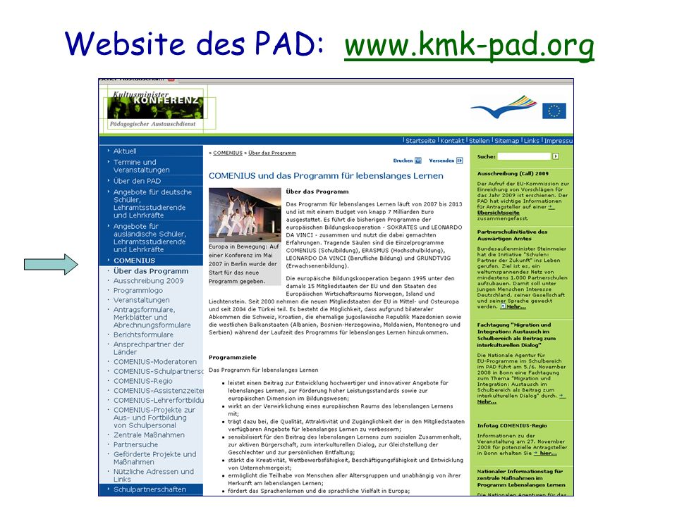 Website des PAD: