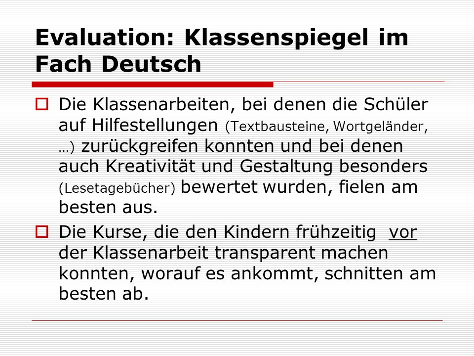 Evaluation: Klassenspiegel im Fach Deutsch