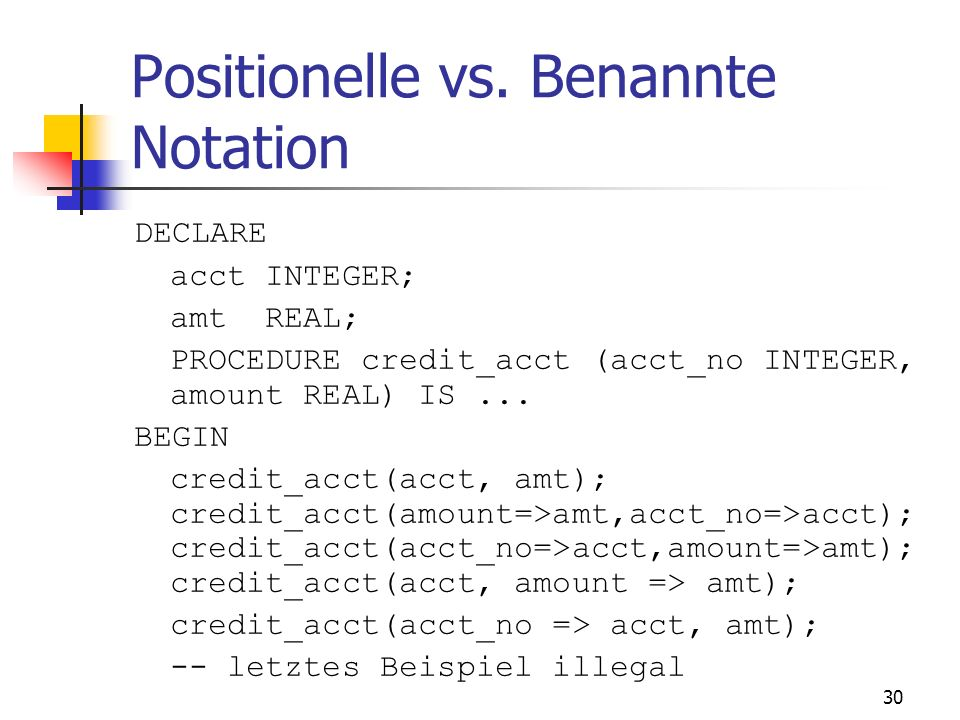 Positionelle vs. Benannte Notation