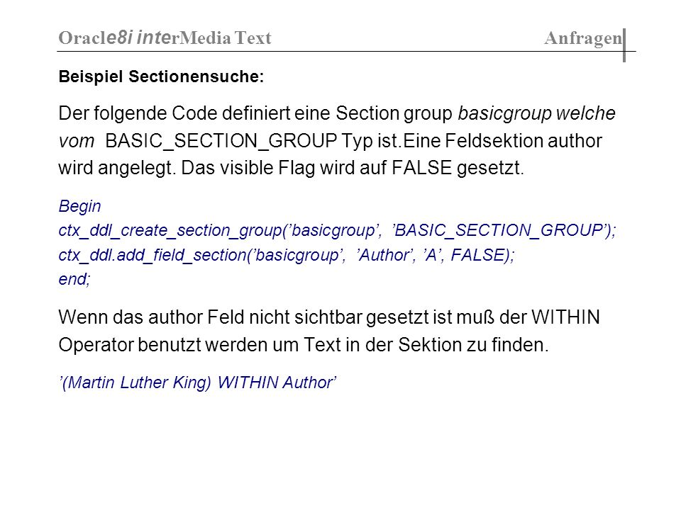 Oracle8i interMedia Text Anfragen