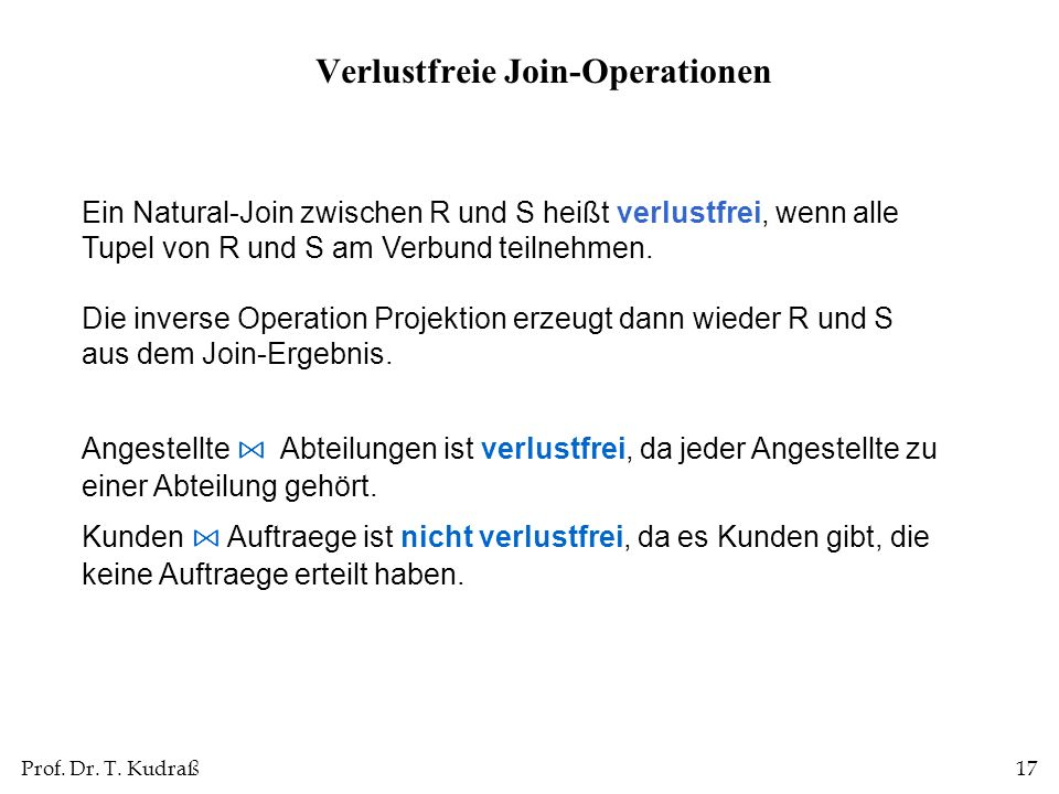 Verlustfreie Join-Operationen