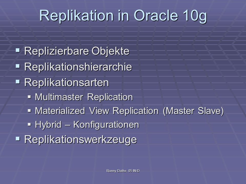 Replikation in Oracle 10g