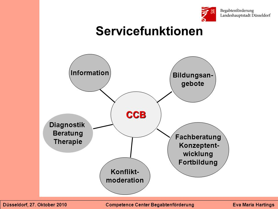 Servicefunktionen CCB Information Bildungsan- gebote Diagnostik