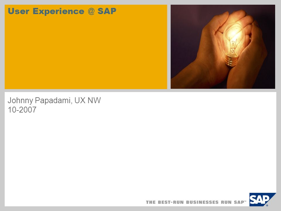 User SAP Johnny Papadami, UX NW