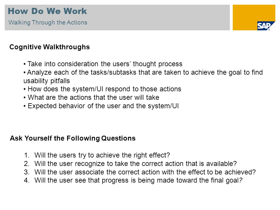 How Do We Work Cognitive Walkthroughs