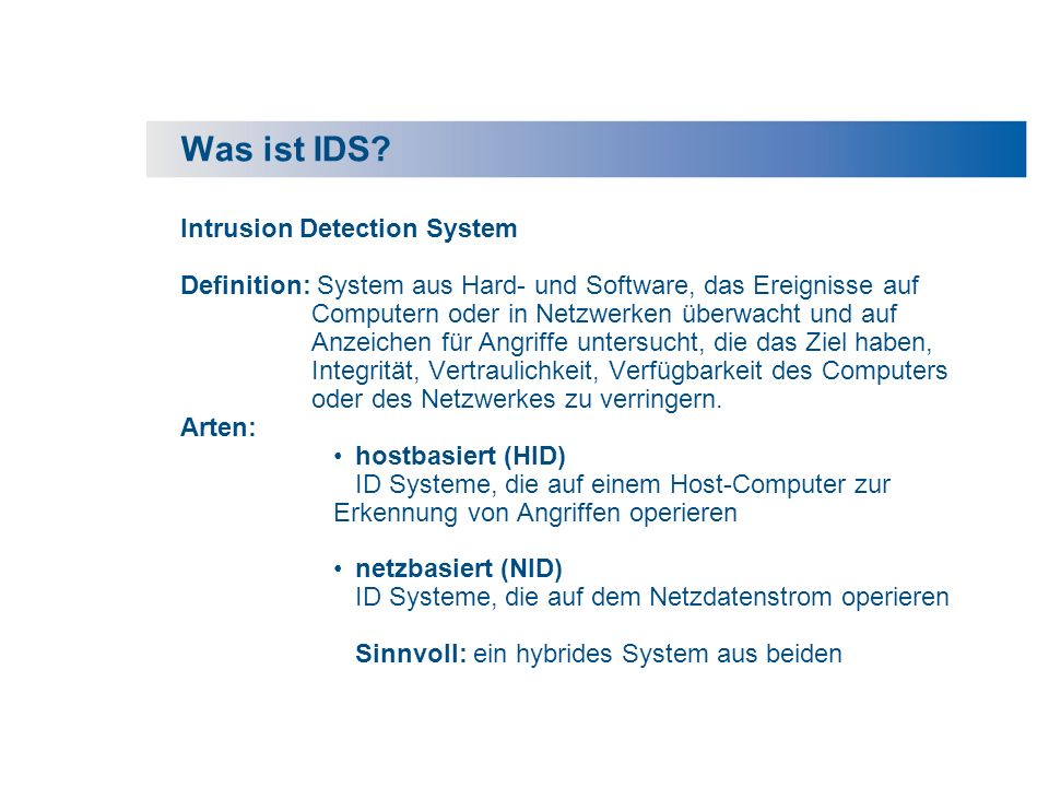 Was ist IDS Intrusion Detection System