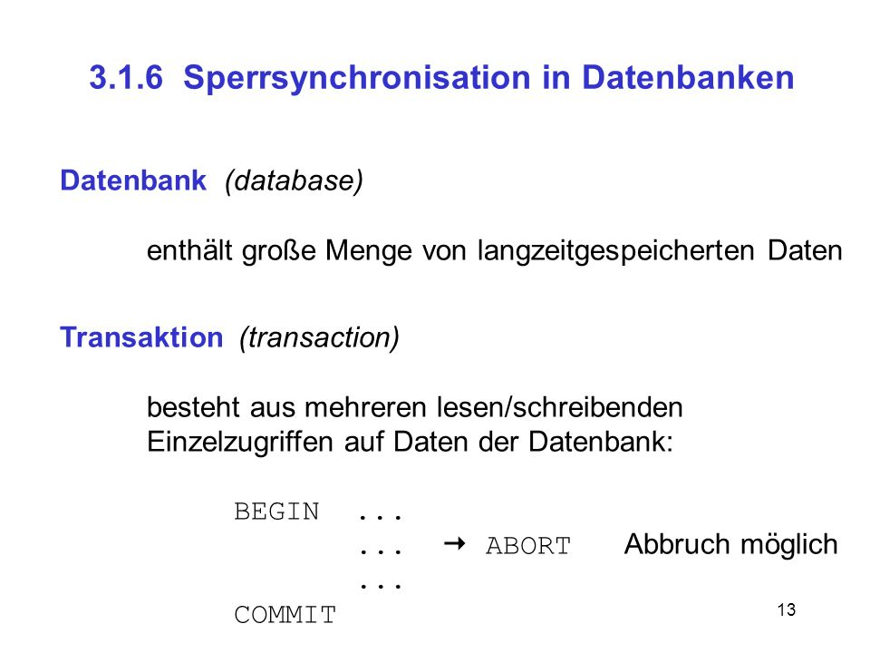 3.1.6 Sperrsynchronisation in Datenbanken