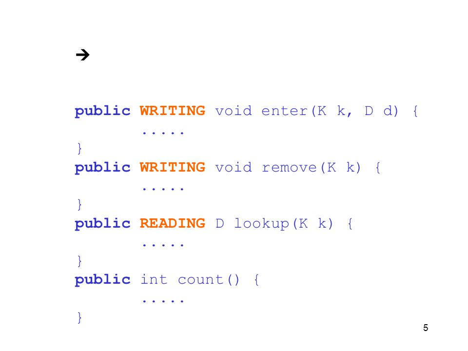  public WRITING void enter(K k, D d) { ..... } public WRITING void remove(K k) { public READING D lookup(K k) {