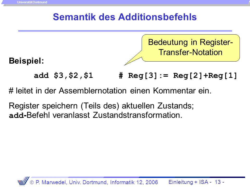 Semantik des Additionsbefehls