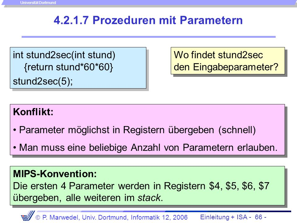 Prozeduren mit Parametern