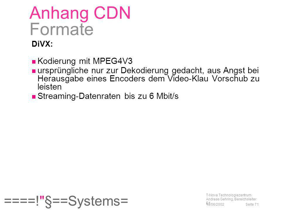 Anhang CDN Formate Kodierung mit MPEG4V3
