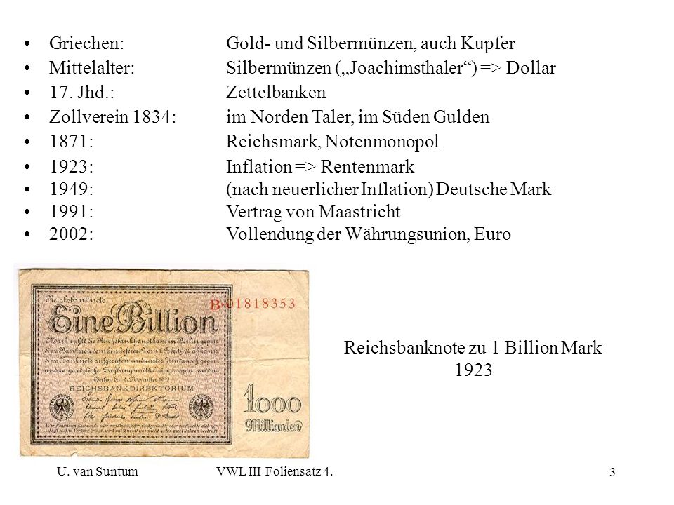 Reichsbanknote zu 1 Billion Mark