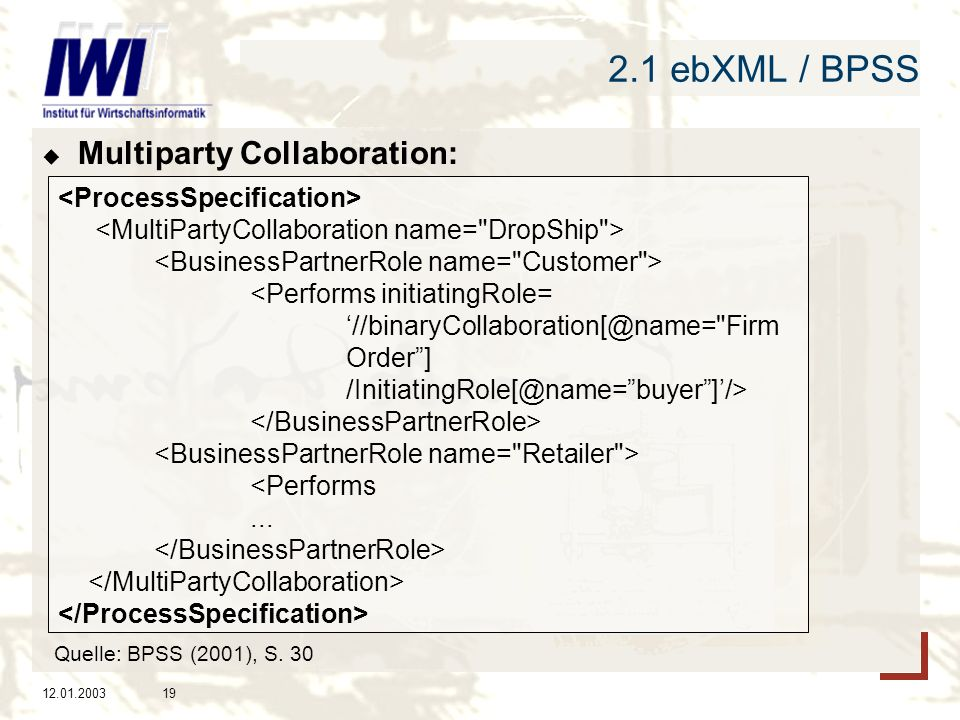2.1 ebXML / BPSS Multiparty Collaboration: