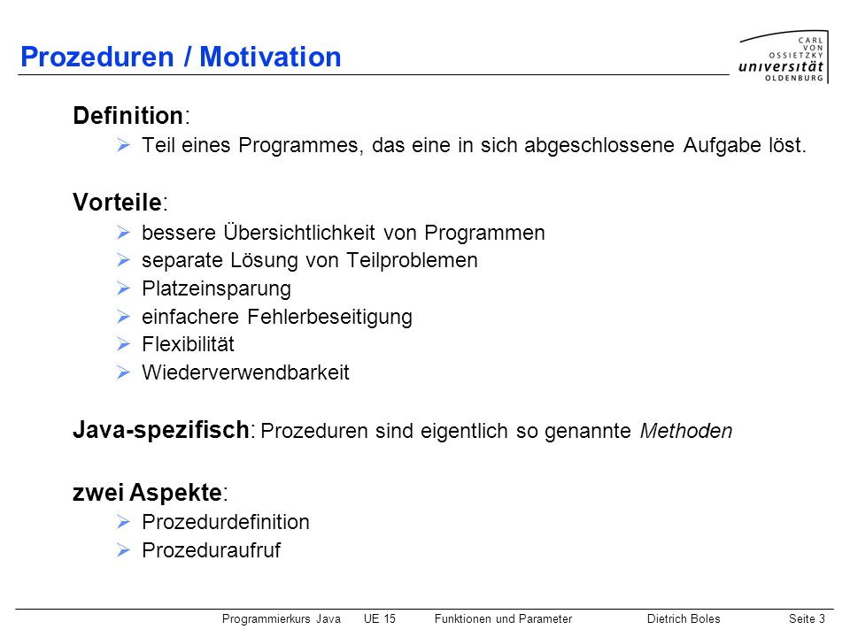 Prozeduren / Motivation