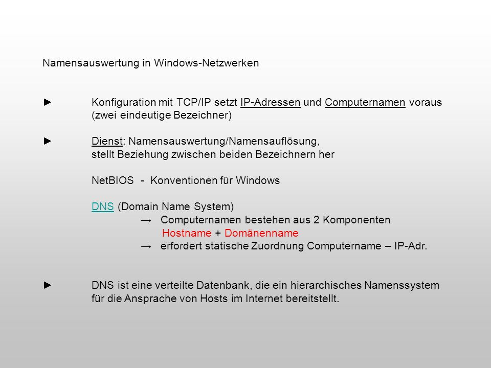 Namensauswertung in Windows-Netzwerken