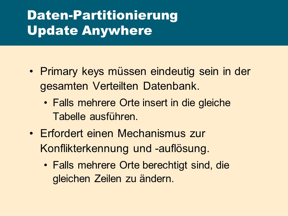 Daten-Partitionierung Update Anywhere