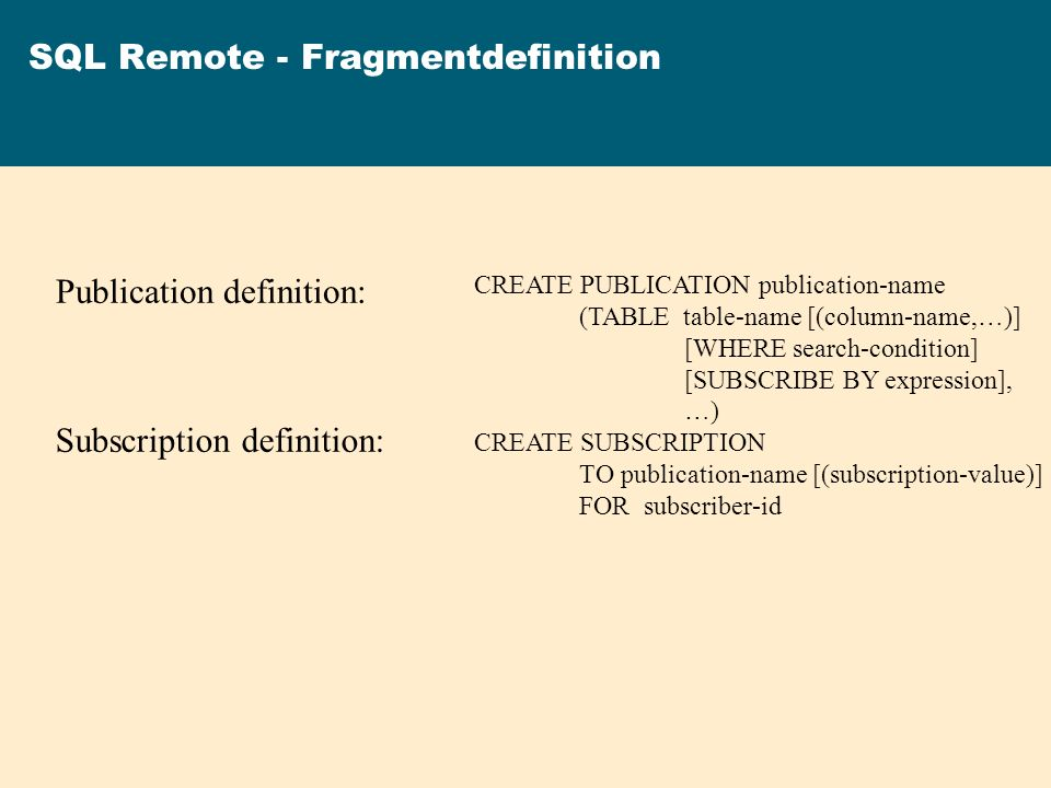SQL Remote - Fragmentdefinition