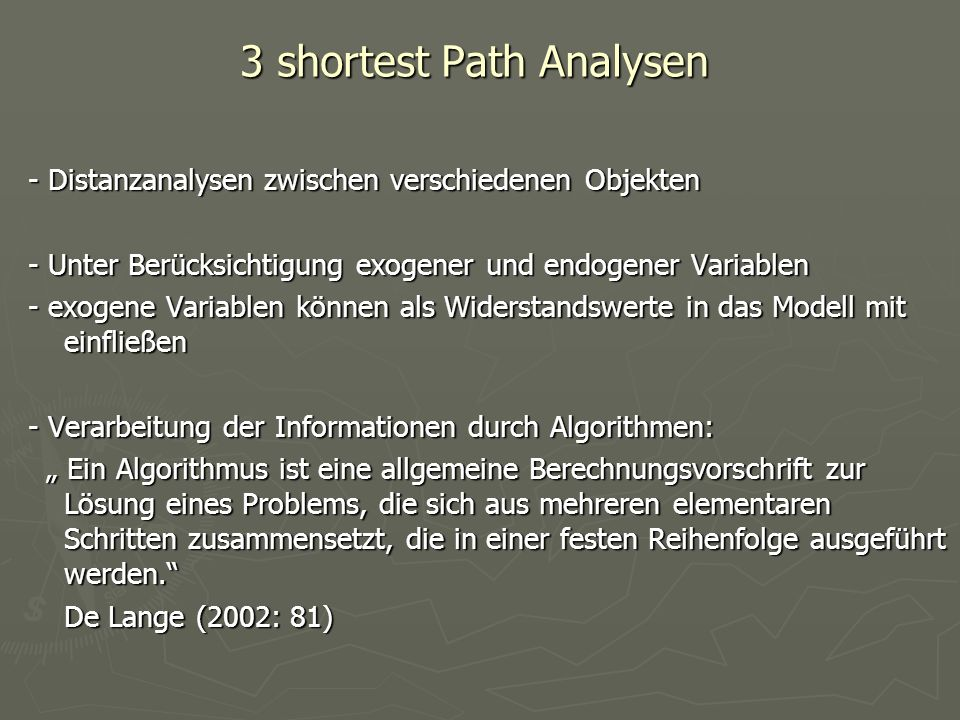 3 shortest Path Analysen