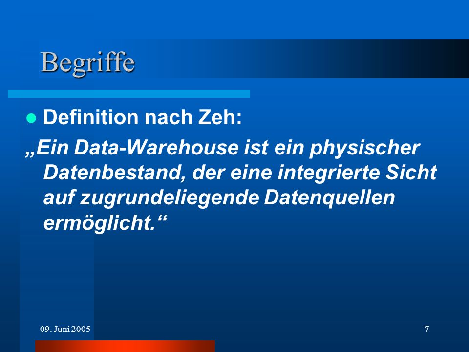 Begriffe Definition nach Zeh: