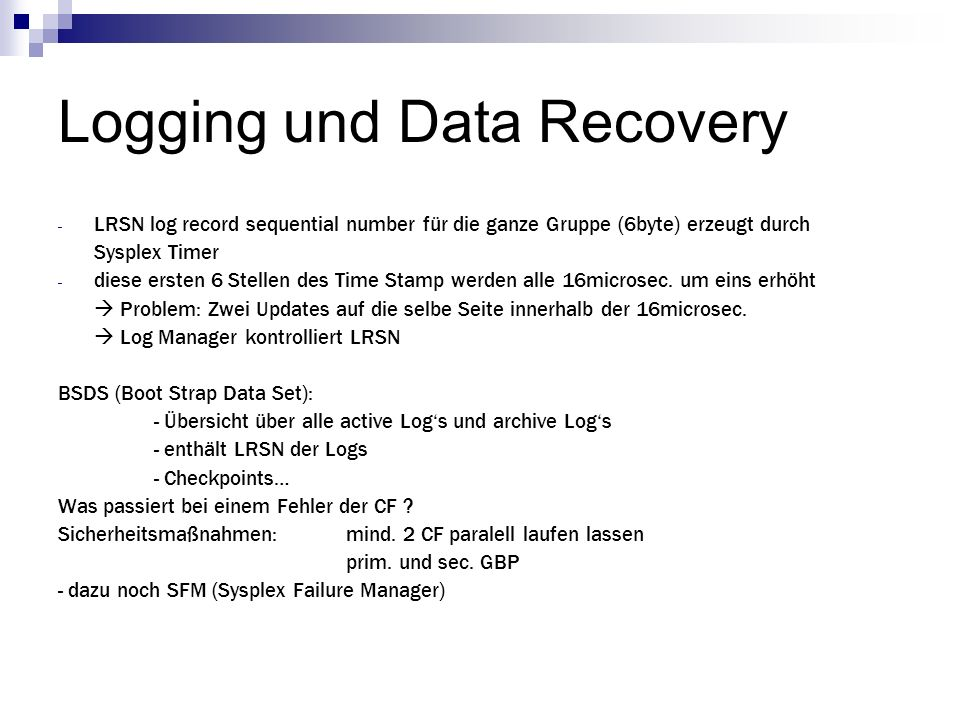 Logging und Data Recovery