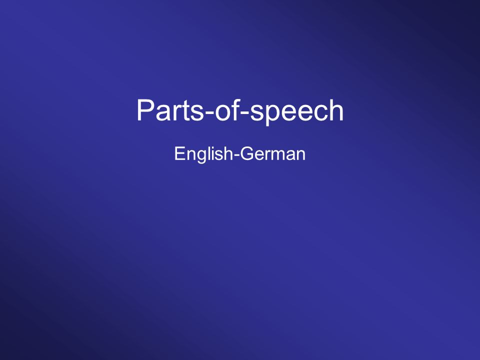 Parts-of-speech English-German