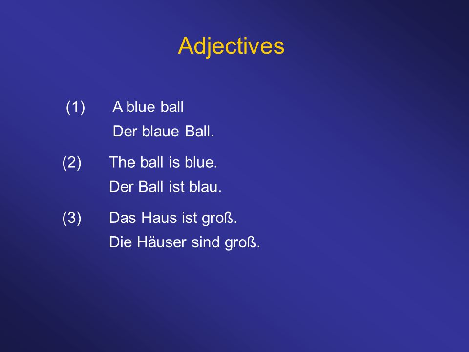 Adjectives (1) A blue ball Der blaue Ball. (2) The ball is blue.