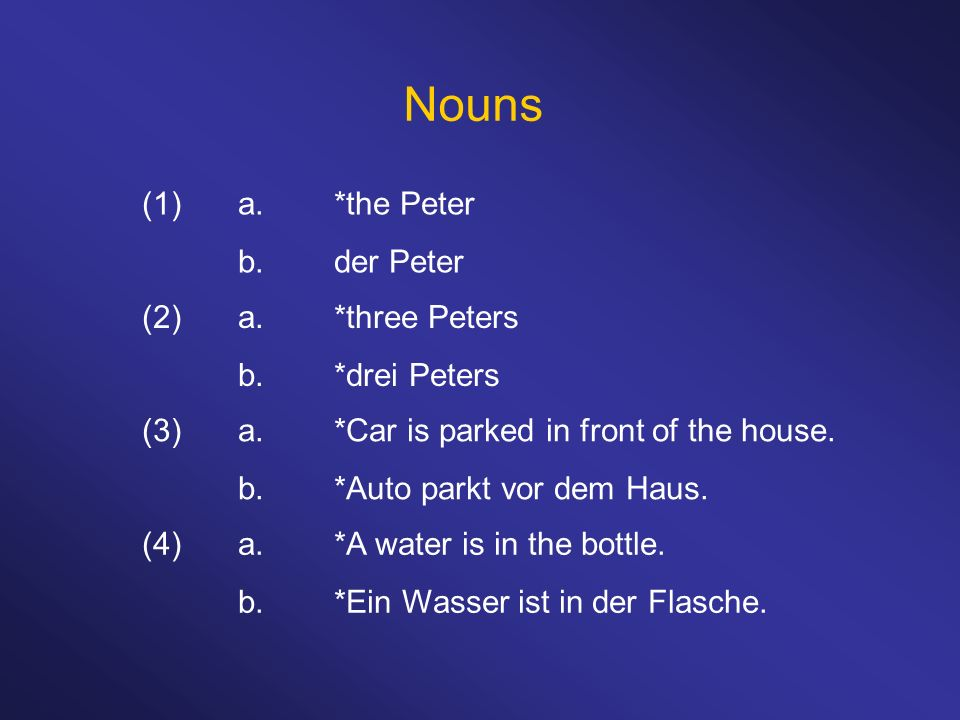 Nouns (1) a. *the Peter b. der Peter (2) a. *three Peters