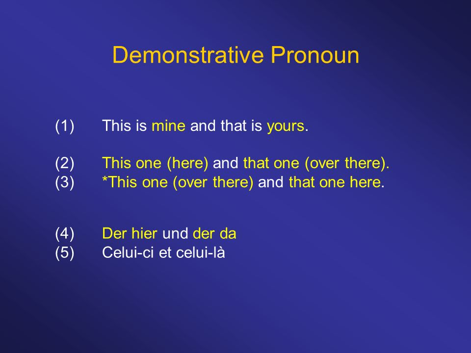 Demonstrative Pronoun