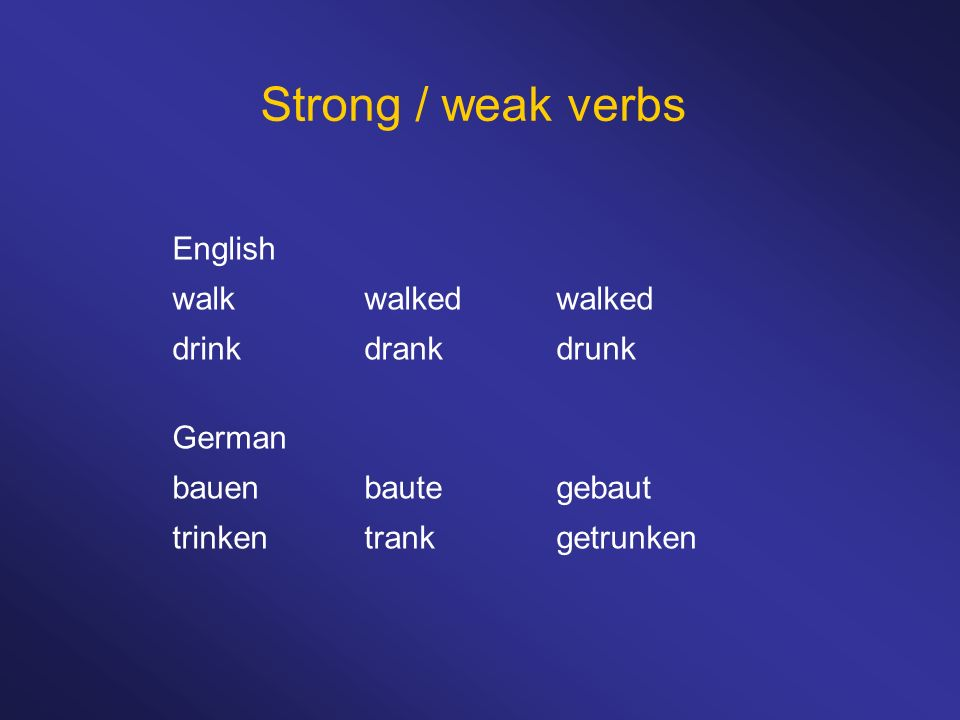 Strong / weak verbs English walk walked walked drink drank drunk