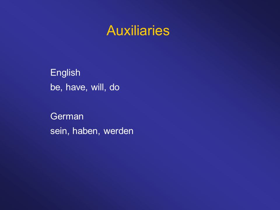 Auxiliaries English be, have, will, do German sein, haben, werden