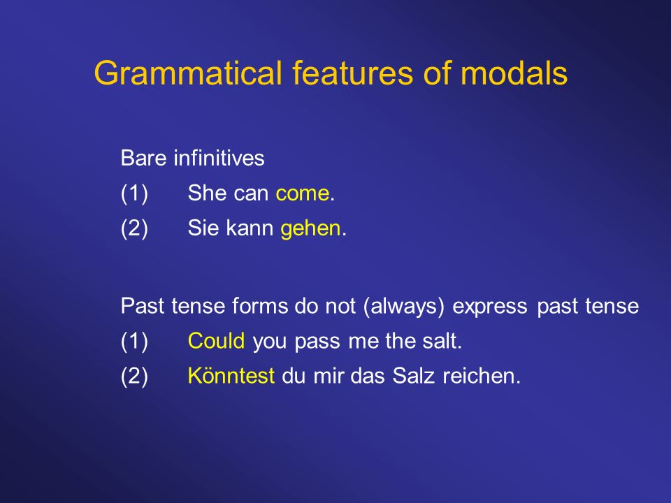 Grammatical features of modals