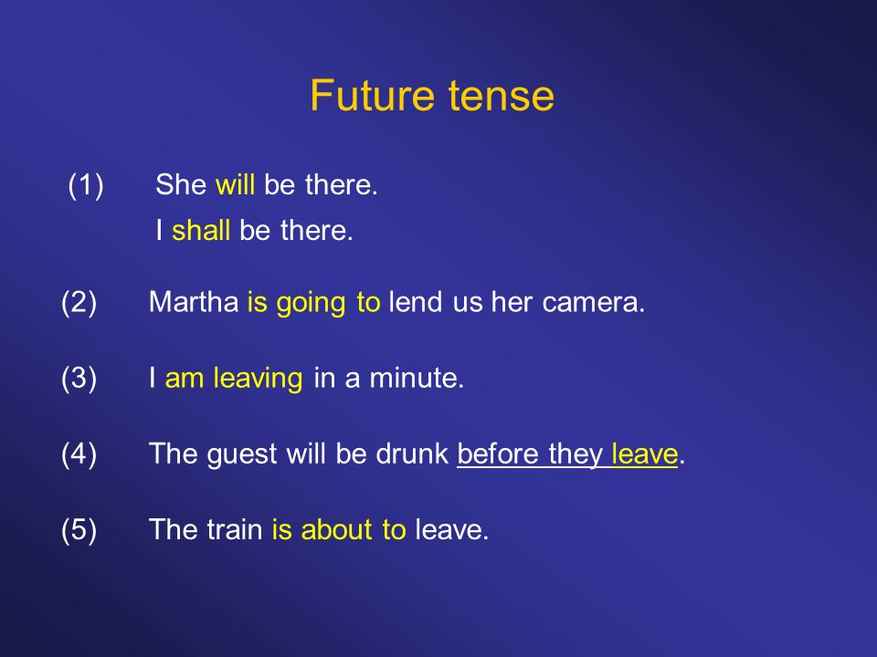 Future tense (1) She will be there. I shall be there.