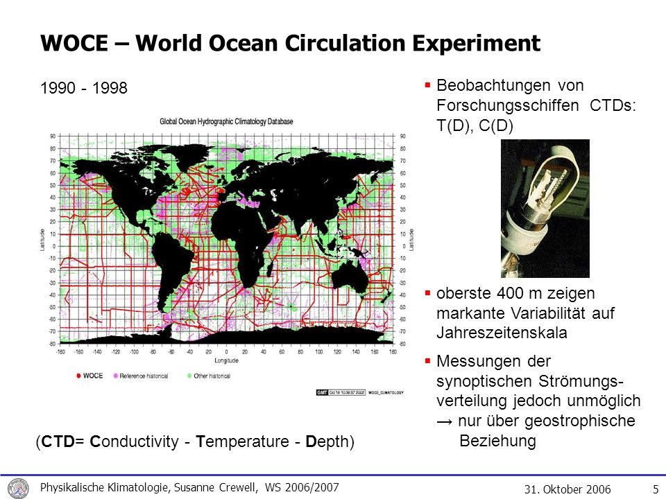 WOCE – World Ocean Circulation Experiment