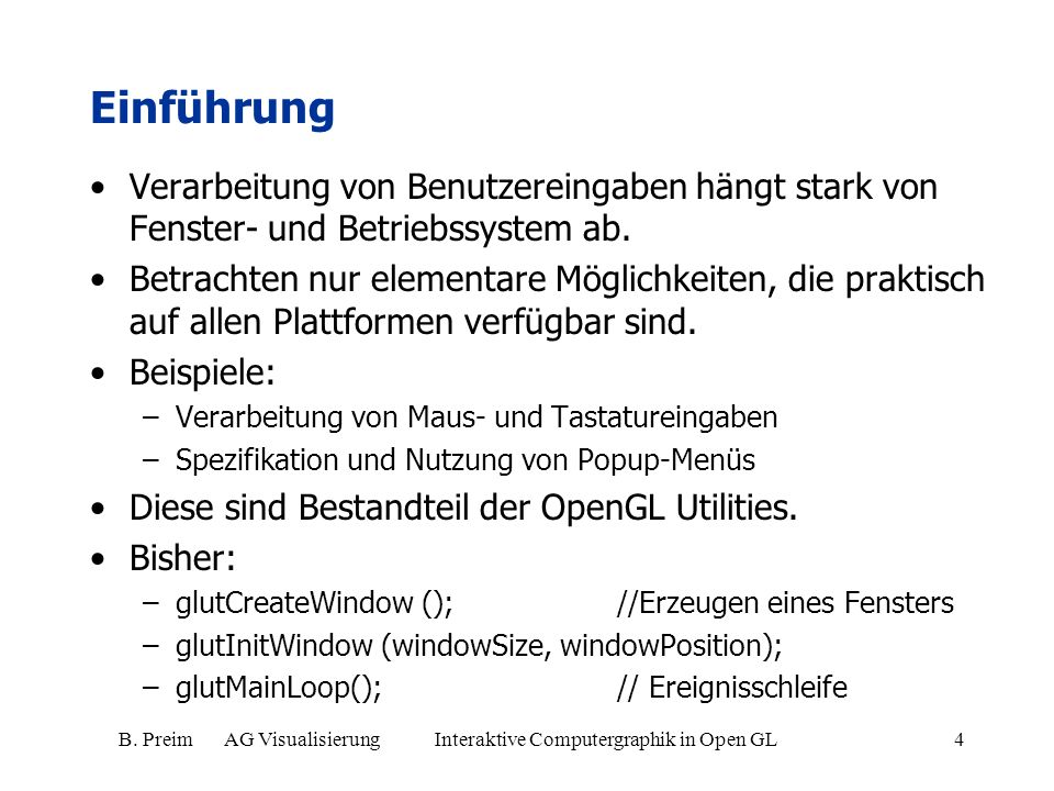 B. Preim AG Visualisierung Interaktive Computergraphik in Open GL