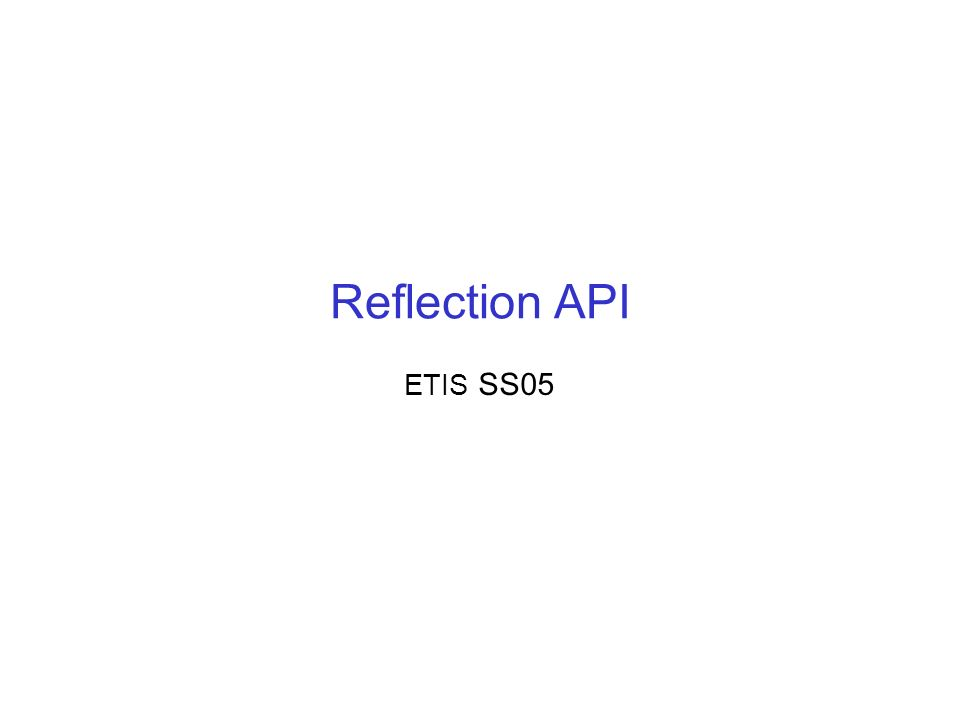 Reflection API ETIS SS05