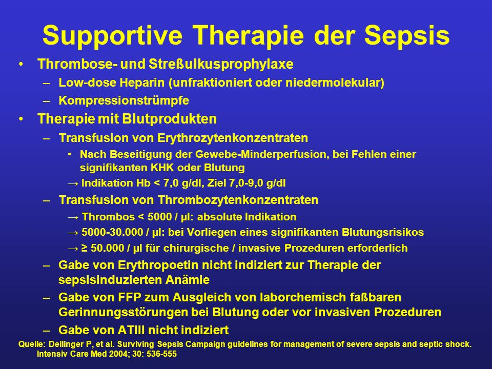Supportive Therapie der Sepsis