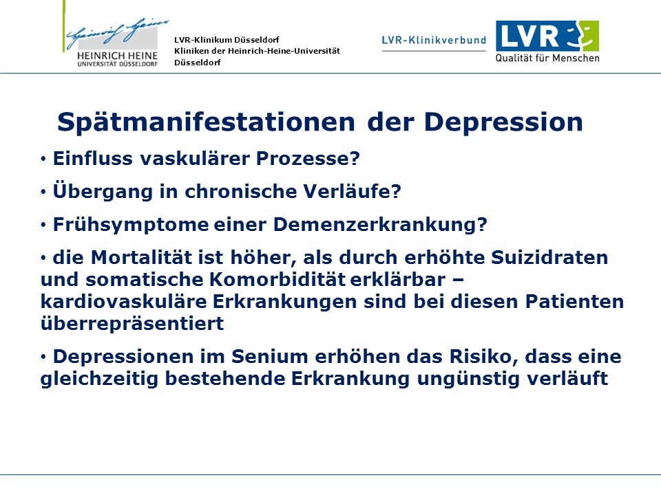 Spätmanifestationen der Depression
