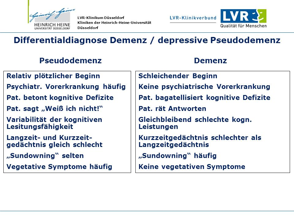 Differentialdiagnose Demenz / depressive Pseudodemenz